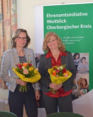 Jutta Ramackers (v.l.) und Astrid Marcinkowski sind die neuen Weitblick-Standortlotsinnen für Waldbröl. (Foto: OBK)