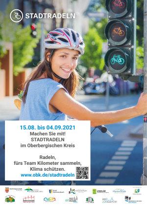 Der Oberbergische Kreis und die beteiligten Kommunen fördern Fahrradkilometer für den Klimaschutz. (Plakat: Klima-Bündnis und OBK, Foto: Laura Nickel/Klima-Bündnis)