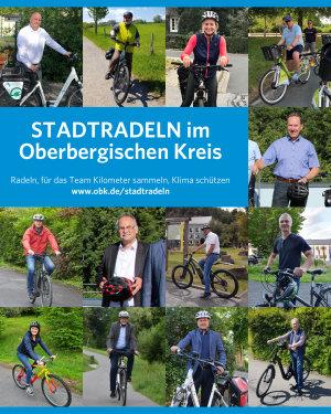 Landrat Jochen Hagt und die Bürgermeisterinnen und Bürgermeister der oberbergischen Kommunen werben fürs Stadtradeln 2021. (Collage: OBK/ Fotos: Kommunen des OBK)